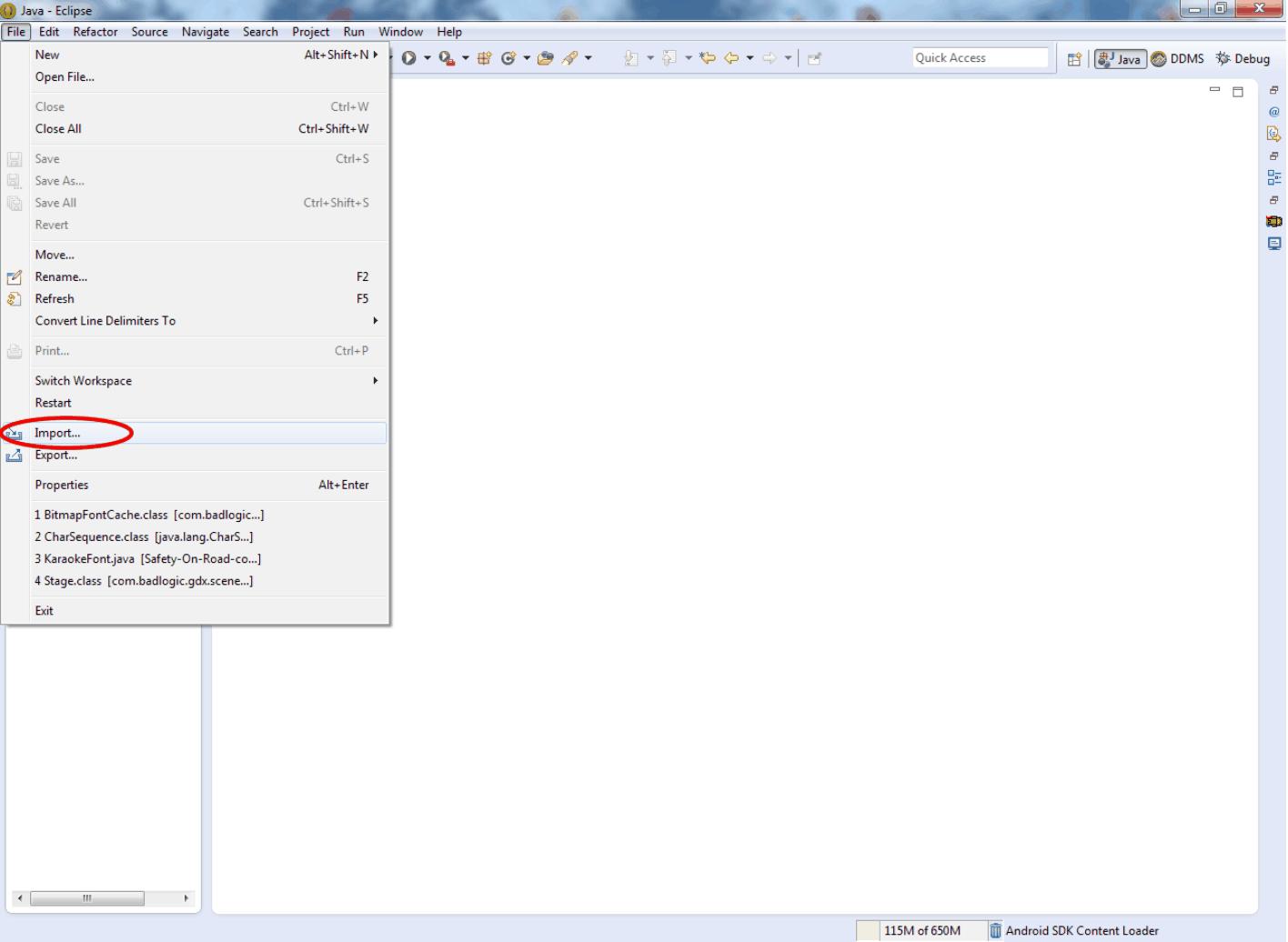 Открывайте Эклипс и находите в меню File пункт Import