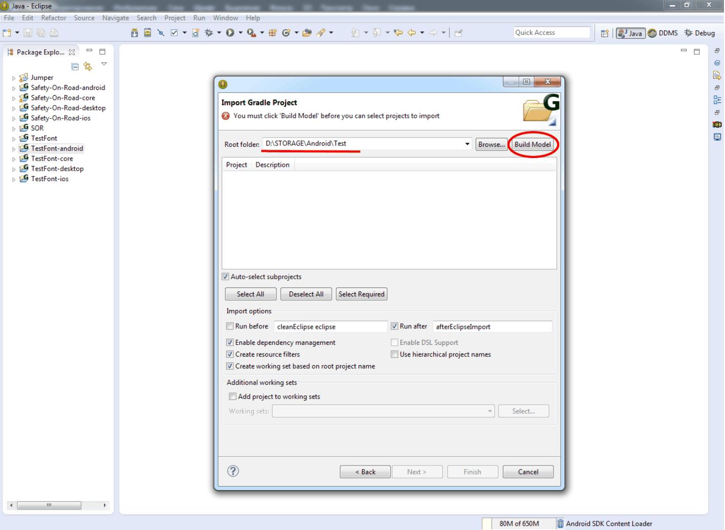 Убедитесь, что в поле Root folder появился нужный путь. Теперь нажимайте кнопку Build Model.