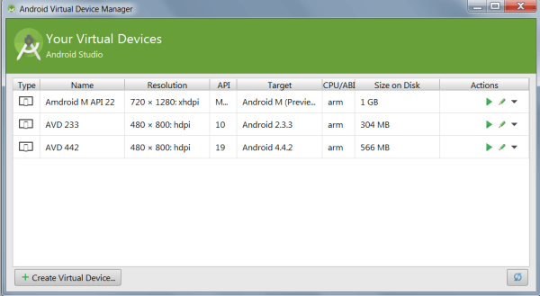 Android Virtual Devices Manager
