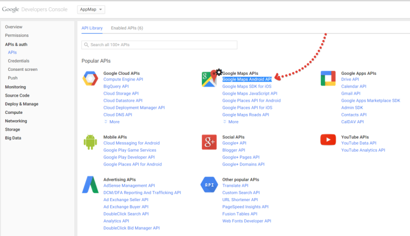 Из списка интерфейсов выберите Google Maps Android API