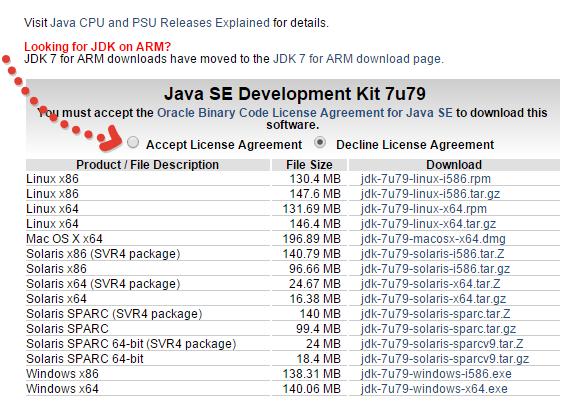 в таблице Java SE Development Kit 7u79 отмечаем согласие с условиями, выбрав пункт Accept License Agreement
