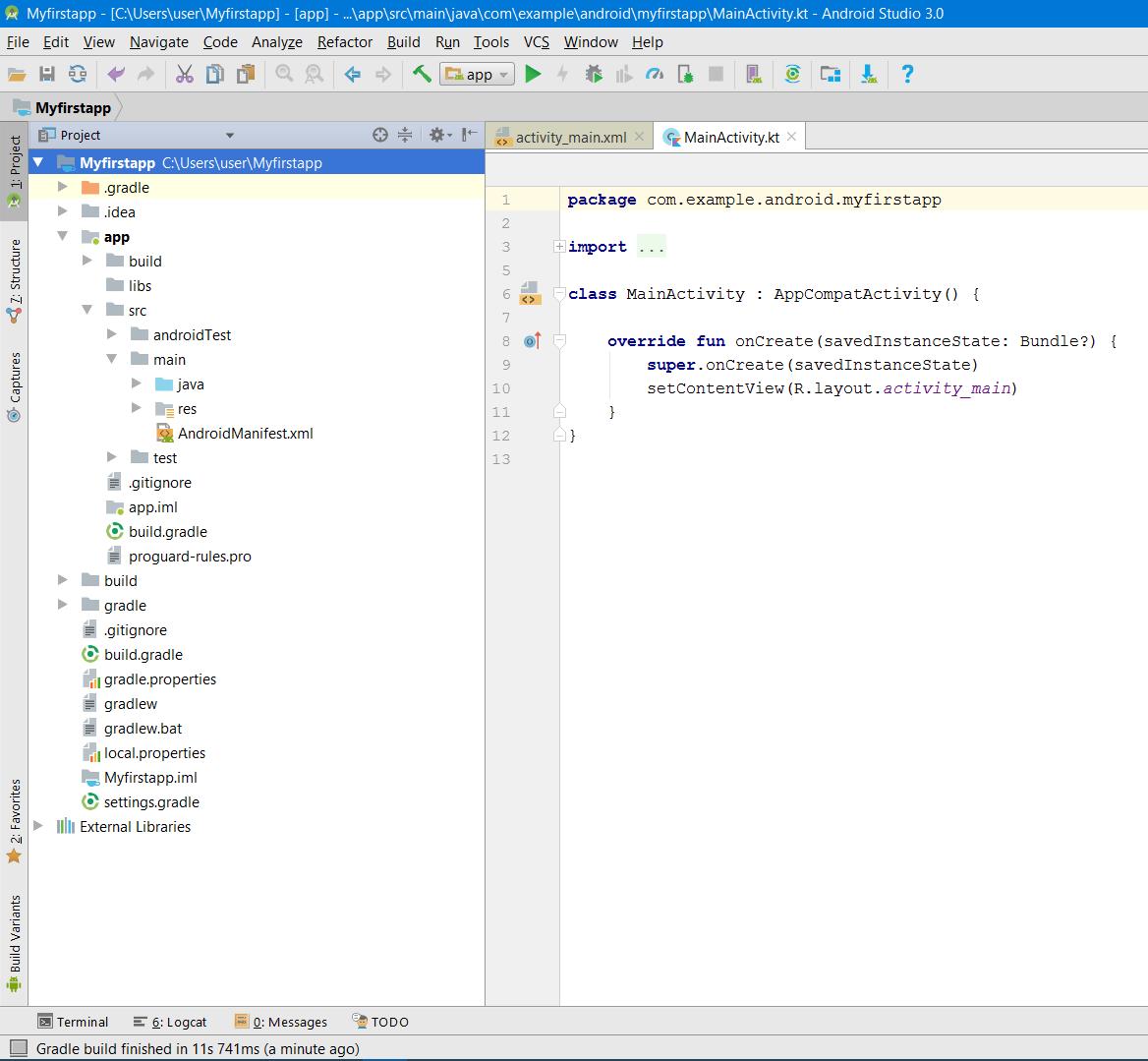Окно структуры проекта Android Studio в виде Project srcset=
