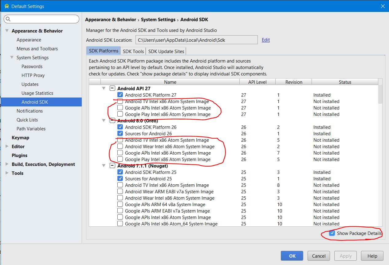 установите флаг Show Package Details для отображения всех компонентов платформы