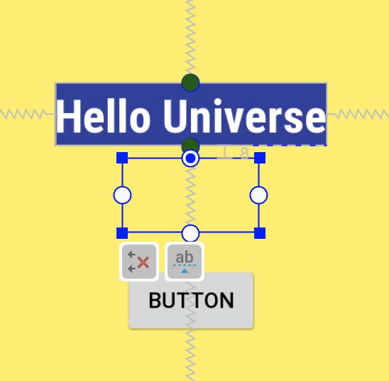 Перетяните круг в верхней части кнопки на круг в нижней части TextView