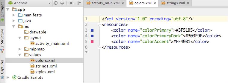 файл цветовых ресурсов