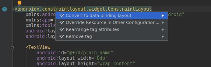Преобразование макета разметки в Data Binding layout средствами Android Studio