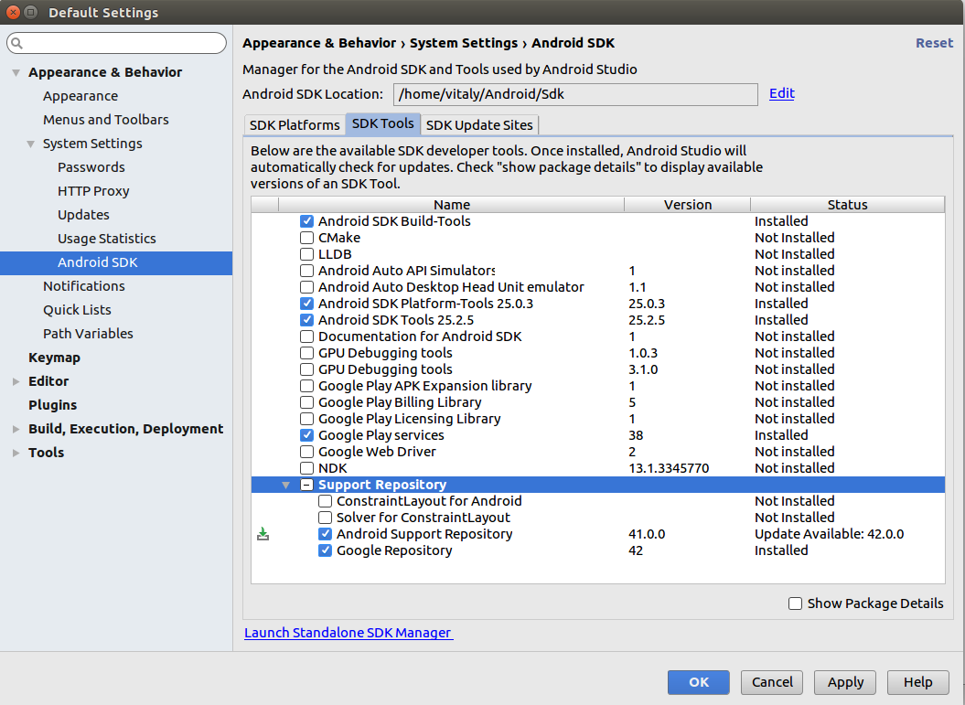 Добавление пакетов Android SDK Manager — Fandroid info